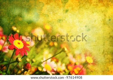 Grunge style background with flowers - stock photo