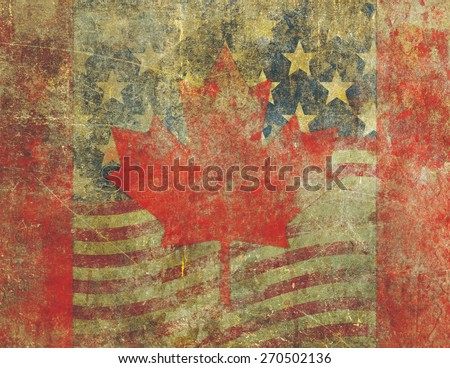 Grunge style Canadian flag overlaying an the American flag both heavily distressed, damaged and faded with the appearance of being old paint on concrete.
