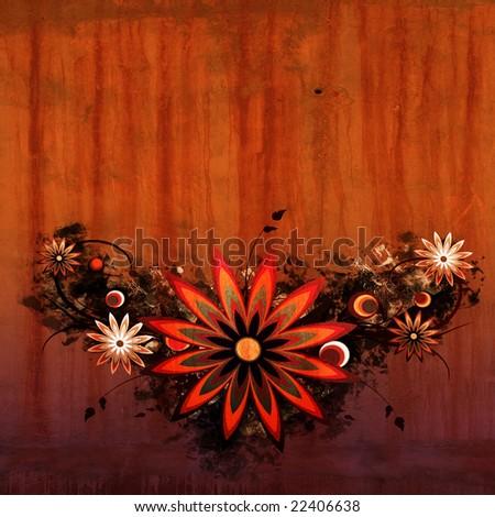 Grunge style flower background - stock photo
