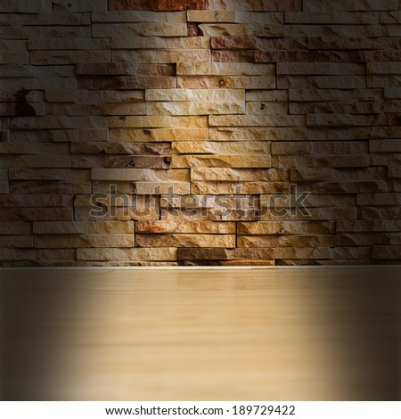 grunge style interio with brick wall and wood floor - stock photo