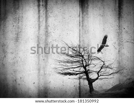 Grunge style textures with stains and tree and bird in black and white - stock photo