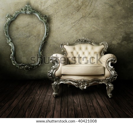 Grunge Styled Interior - stock photo
