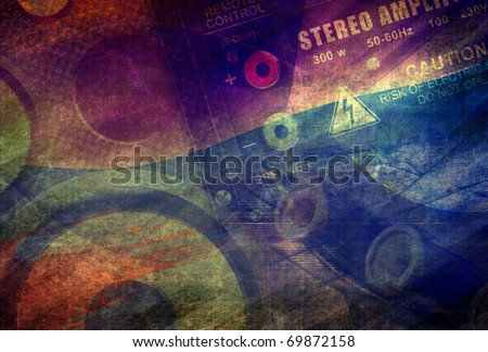 Grunge technology background, dark industrial composition, amp and speaker - stock photo