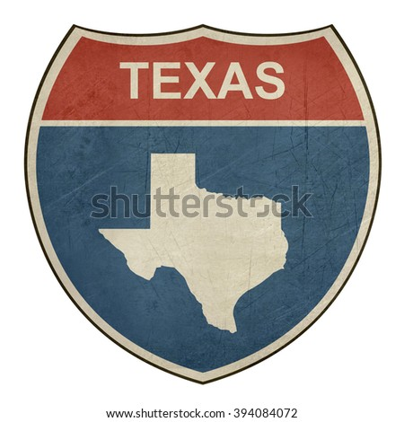 Grunge Texas American interstate highway road shield isolated on a white background. - stock photo