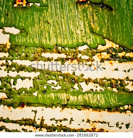 Grunge texture background. Green old paint on rusty metal. Abstract green painting. - stock photo