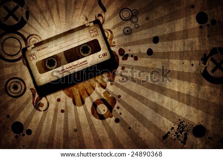grunge texture background with music cassette - landscape orientation - stock photo