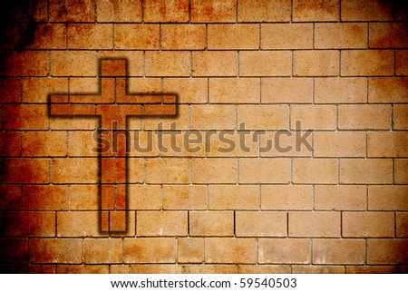 Grunge Texture of Wall with Cross - stock photo