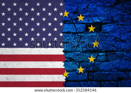 Grunge textured EU and USA torn flag. Conceptual and symbolic illustration of the situation between EU and USA