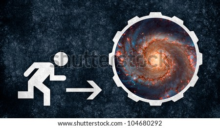Grunge textured Space Escape sign, designed especially for comic relief with a science-fiction twist. Elements of this image furnished by NASA, notably inside the space portal - stock photo