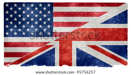 Grunge textured split US / UK flag on Vintage Paper (commonly meant to represent the English language) - stock photo