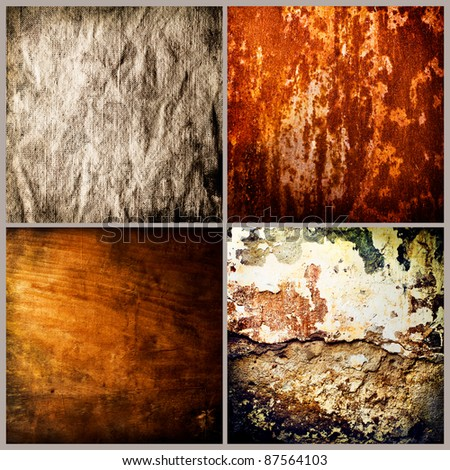 Grunge textures set. Old wood, metal, concrete, fabric
