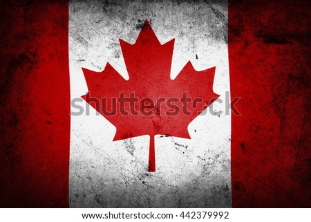 Grunge texured effect Canadian flag - stock photo
