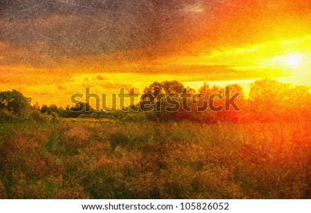 Grunge the Picture on a sunset. Digital structure of painting. - stock photo