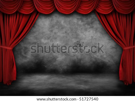Grunge Theater Stage With Red Velvet Drapes and Painted Backdrop - stock photo