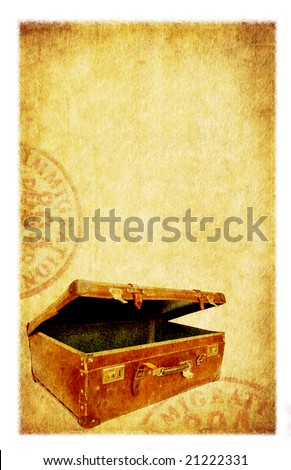 Grunge travel background. Old suitcase and passport stamps, with old paper and sandstone textures.  Photo-based illustration. - stock photo