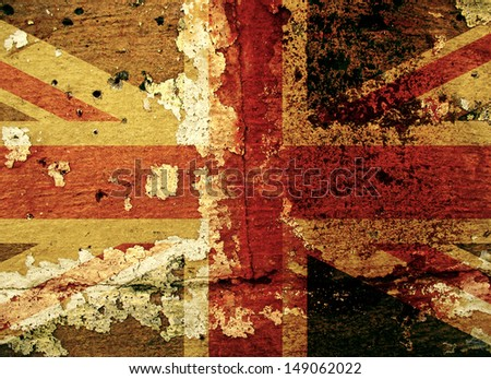 Grunge Union flag on an old wall background - stock photo