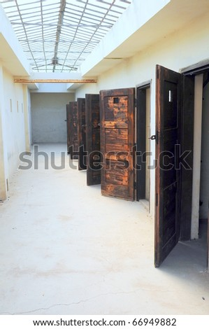 Grunge vintage interior entrances with opened doors