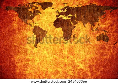 Grunge vintage scratched world map background. - stock photo