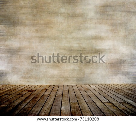 Grunge wall and wood paneled floor, interior of a room. - stock photo
