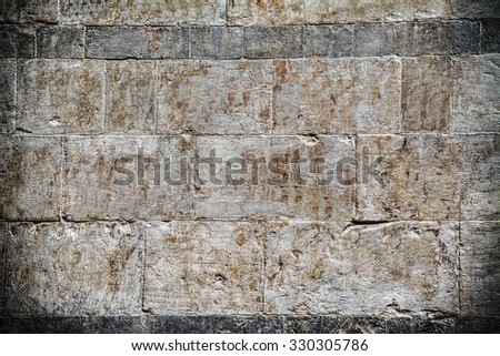 grunge wall in hdr tone mapping effect - stock photo