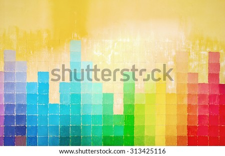 grunge wall painted in rainbow colors  - stock photo