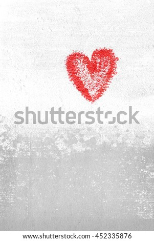 grunge wall texture with a red heart - background