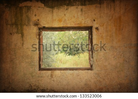 Grunge wall with window - stock photo