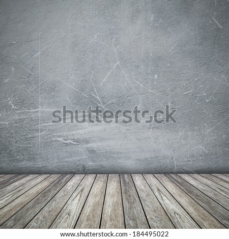 grunge wallpaper and wood background floor with space for text