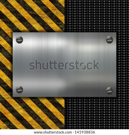 grunge warning sign and metal plate - stock photo