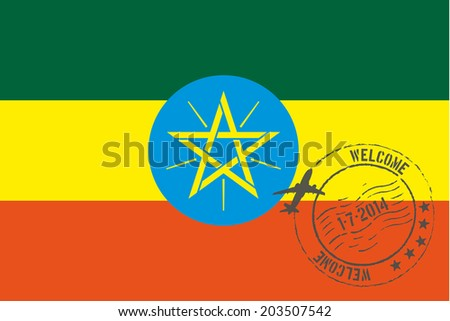 Grunge welcome rubber stamp with date on the flag of Ethiopia