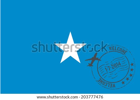 Grunge welcome rubber stamp with date on the flag of Somalia - stock photo