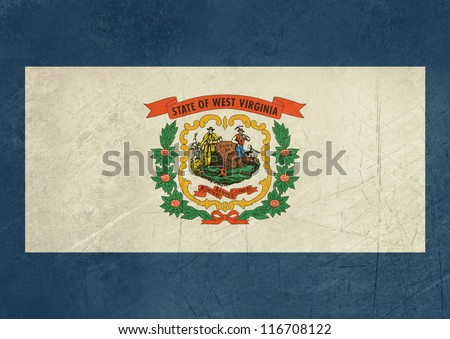Grunge West Virginia state flag of America, isolated on white background. - stock photo