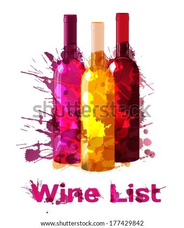 Grunge wine list template - stock photo