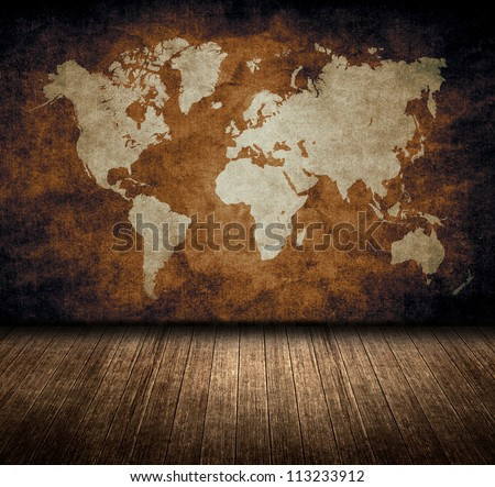 grunge wold map room - stock photo