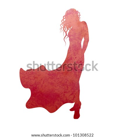 grunge woman in evening dress silhouette isolated on white - stock photo
