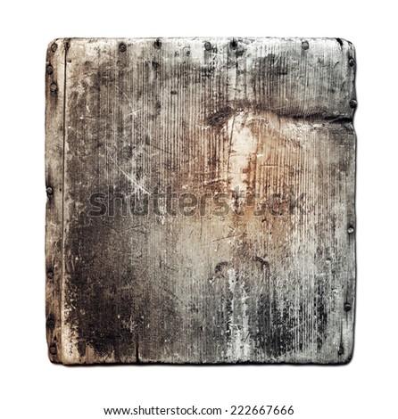 Grunge wood board isolated on white - stock photo