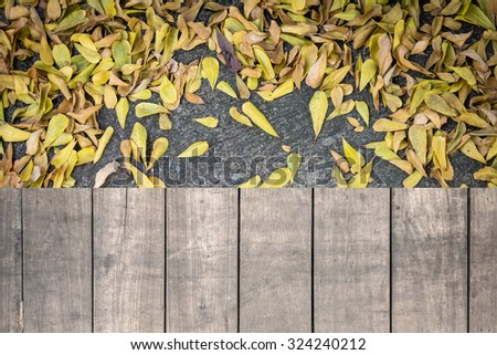 Grunge wood floor and leaf on ground - stock photo