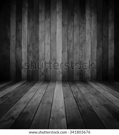 grunge wooden interior room in black and white. - stock photo