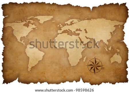 grunge world map background with rose compass - stock photo