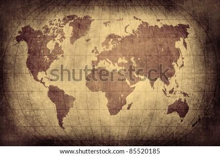 Grunge world map with Latitude and Longitude lines - stock photo