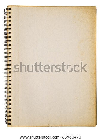 Grunge yellowed spiral notebook isolated on white background - stock photo