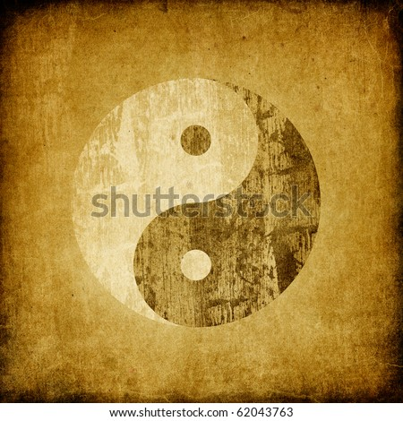 Grunge yin yang symbol background. - stock photo