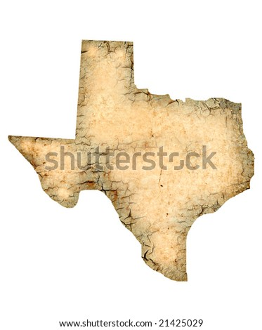 Grunged Texas map isolated on a white background. - stock photo