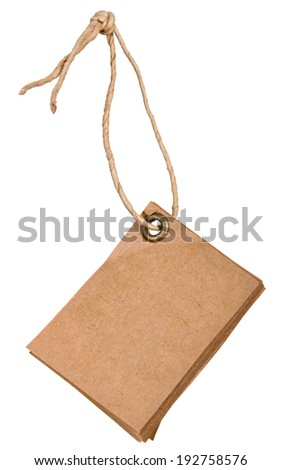 grungy aged paper tags with metal rivets and simple traditional strings, isolated on white background, highly detailed. Blank price tag