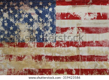 grungy american flag on weathered wall, fictional design - stock photo