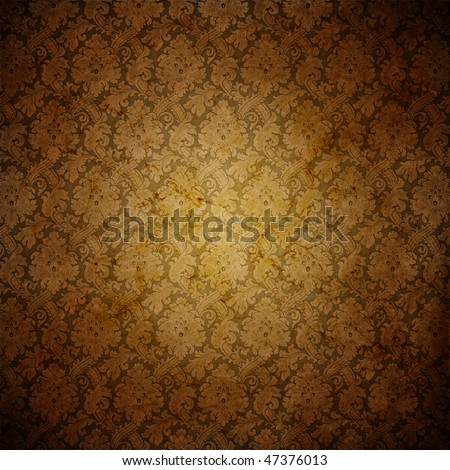 Grungy antique wallpaper background - stock photo