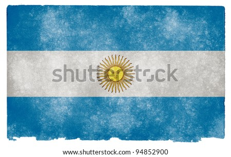 Grungy Argentinian Flag on Vintage Paper - stock photo