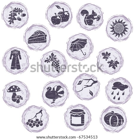 Grungy autumn icons (jpg); - stock photo
