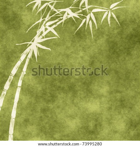 Grungy Background.old paper with bamboo branches - stock photo