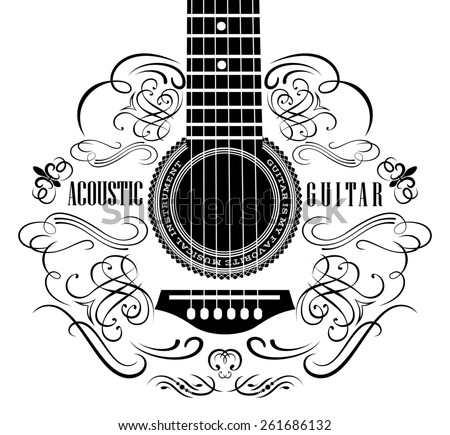 grungy background with black acoustic guitar - stock photo